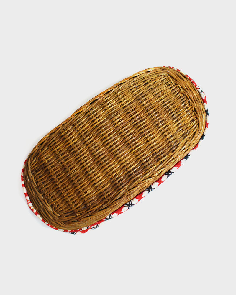 Kinchaku Red Bag, White Flowers, with Light Brown Woven Basket