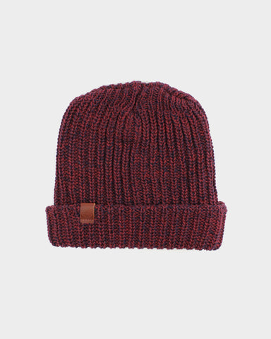 Knit Cap Marbled Burgundy