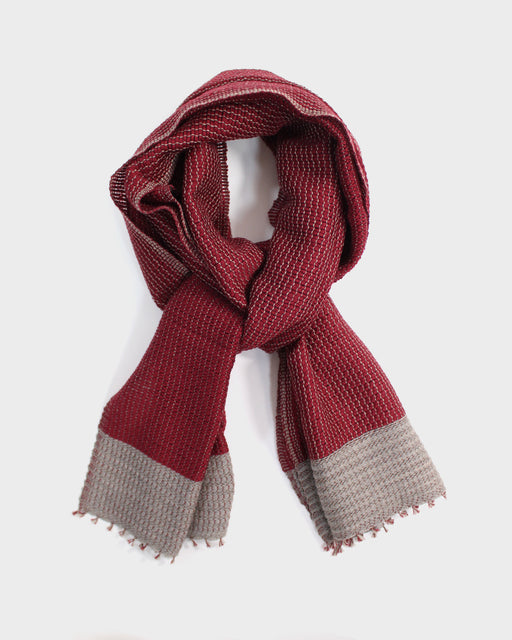 Kobo Oriza, Mojiri Weave, Two Tone Muffler, Red