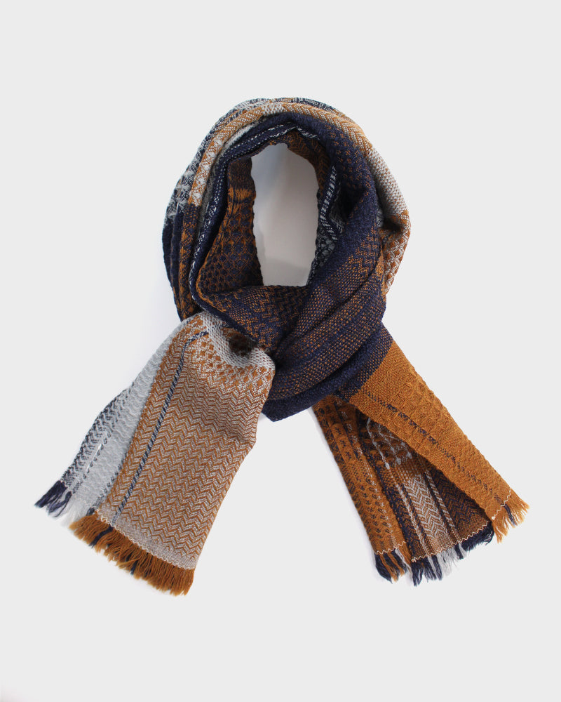 Kobo Oriza, Wool Muffler, Multi Weave, Night Blue and Orange