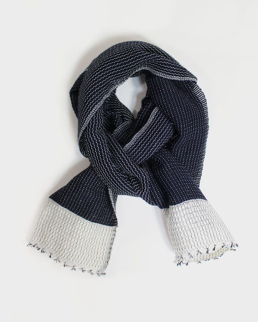 Kobo Oriza, Two Tone, Wool Scarf, White and Indigo