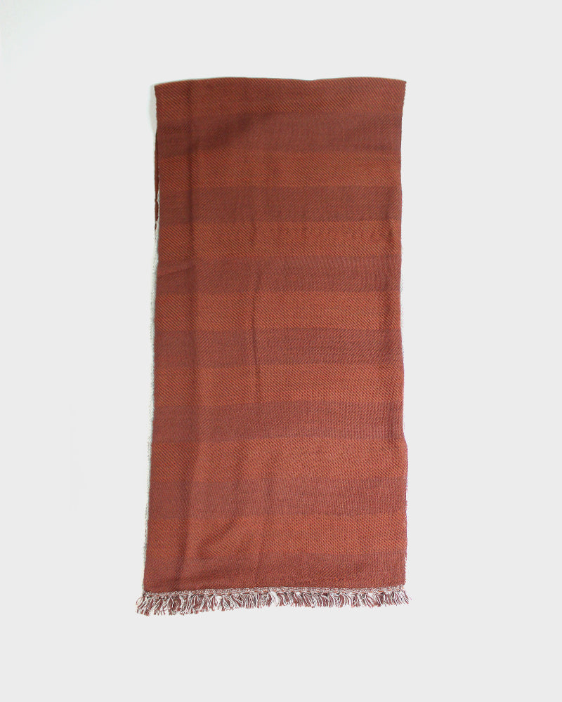 Kobo Oriza, Multi Functional Wool Cotton Shawl, Burnt Red
