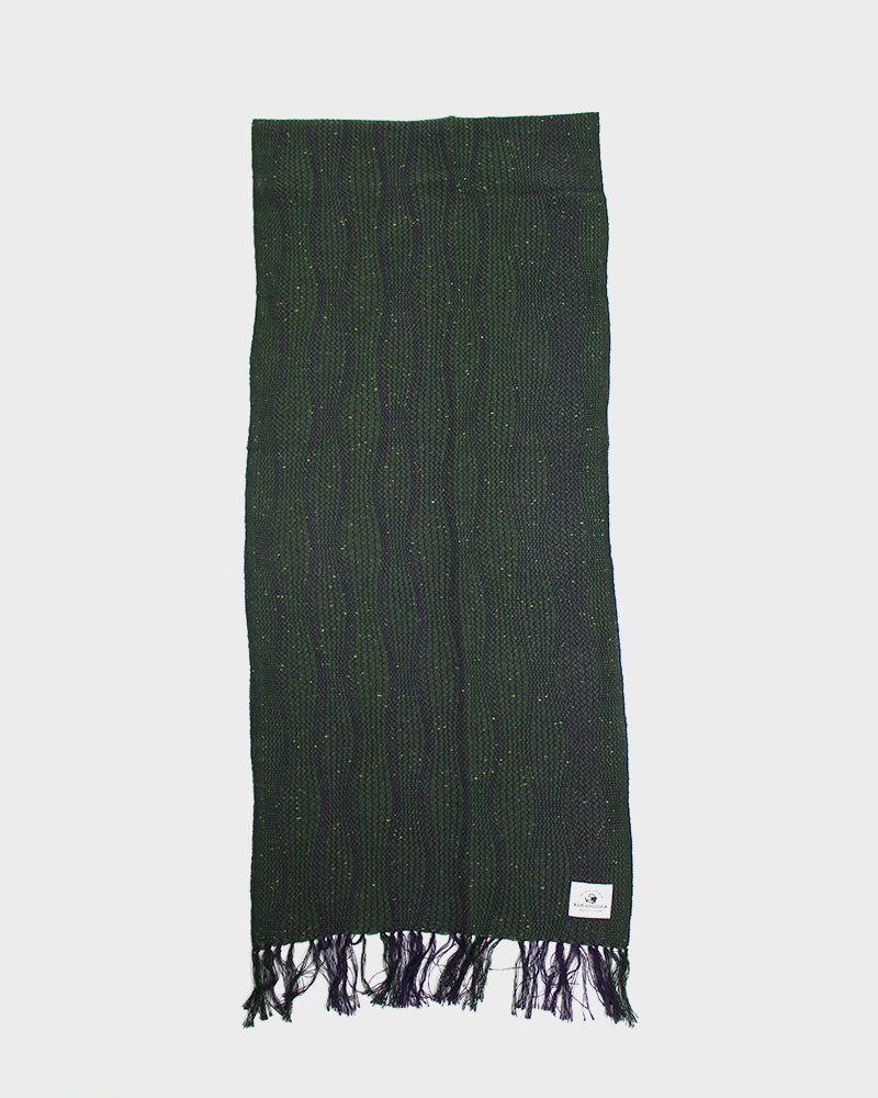 Kobo Oriza Weave Purple and Green Tachiwaku Shima Scarf