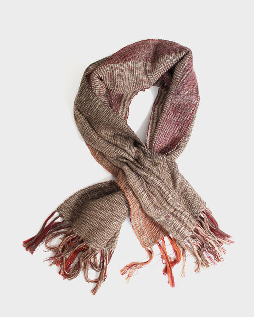 Kobo Oriza Fringed Snood, Red, Orange, Beige
