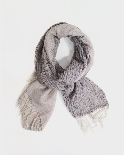 Kobo Oriza Scarf, Beige and Dark Grey