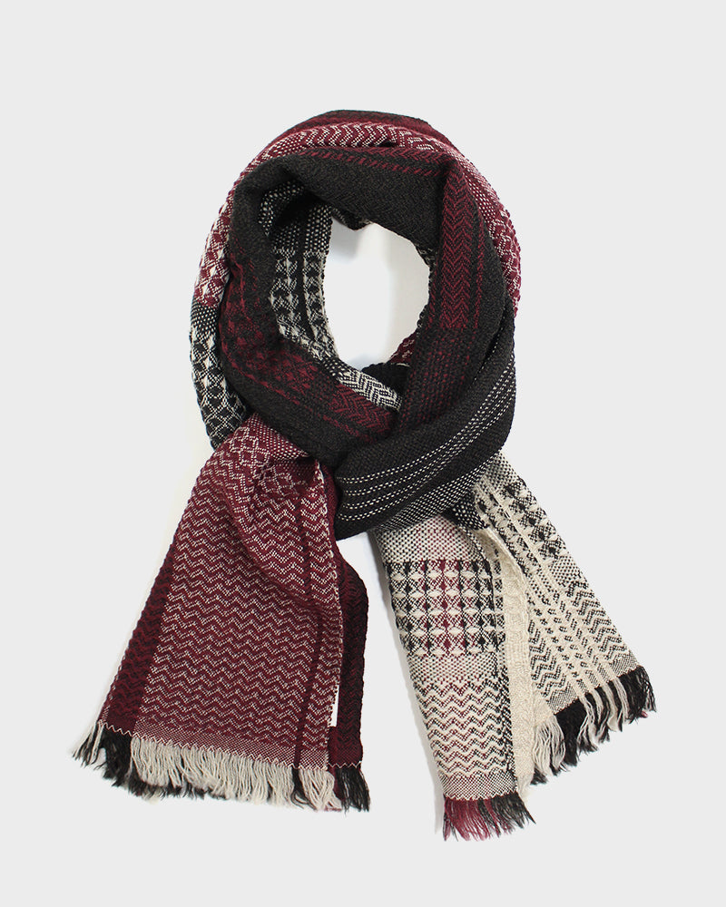 Kobo Oriza Double Weave Red and Grey Plaid Scarf