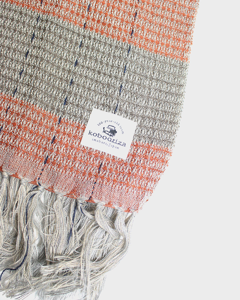 Kobo Oriza, Waffle Shawl, Light Grey and Burnt Orange