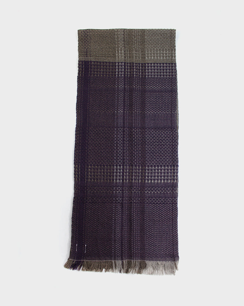 Kobo Oriza Double Weave Tan and Purple Plaid Scarf