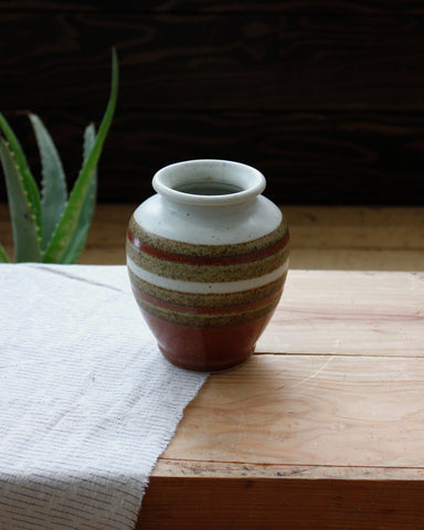 Vintage Brown Stripe Vase