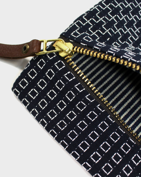Flat Medium Zipper Pouch, Navy Sashiko