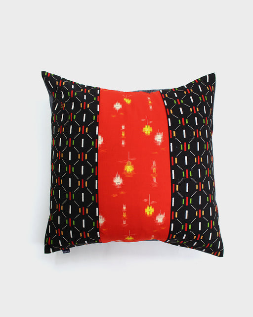 Patchwork Pillow, Red and Yellow Kasuri, Black and Green Abstract Blocks