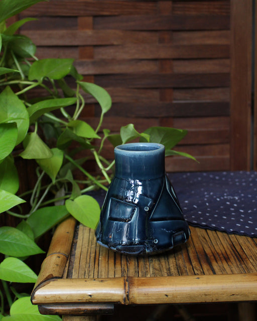 Kelly Pottery, Dark Indigo, Etched Vase