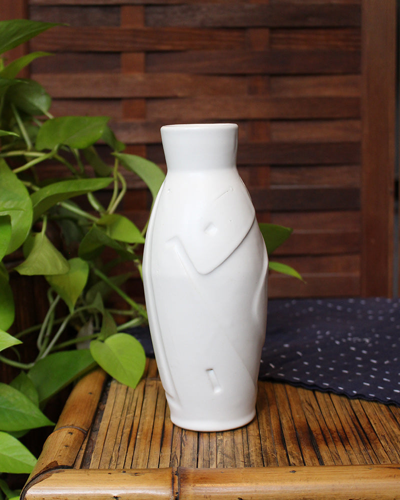 Kelly Pottery, White, Etched Vase