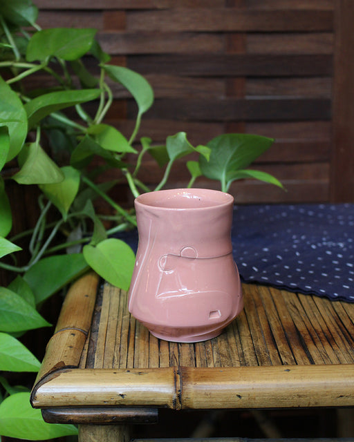 Kelly Pottery, Coral Pink, Etched Yunomi