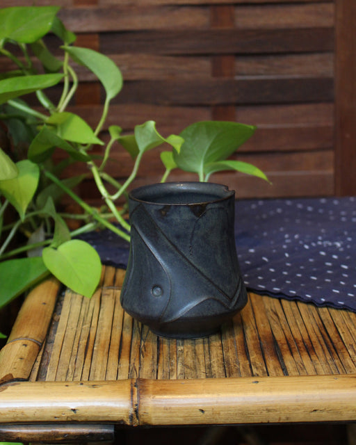 Kelly Pottery, Charcoal, Etched Yunomi
