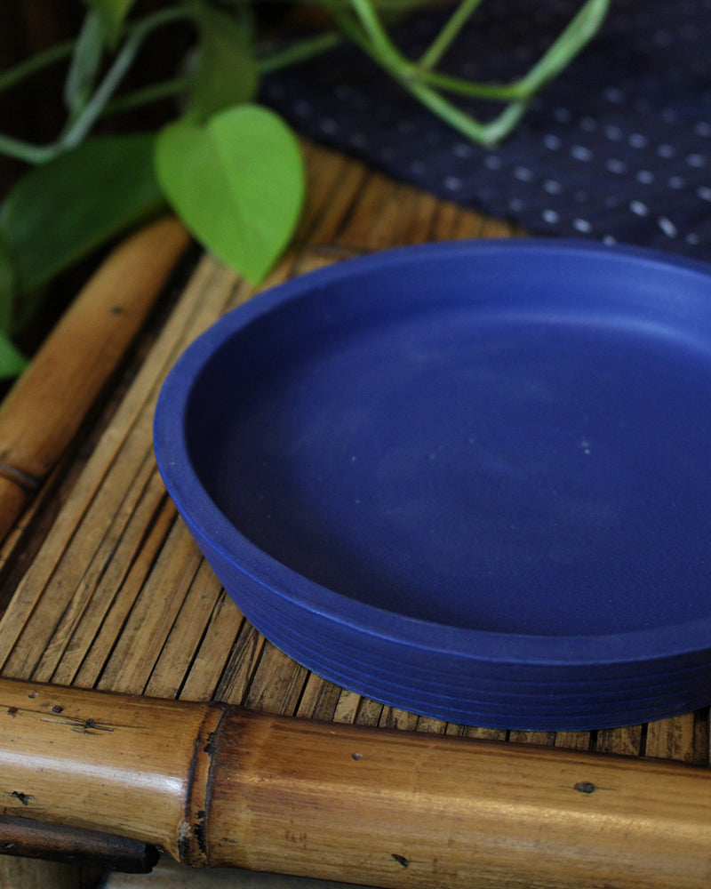 Little Garage Shop, Banded Salad Plate, Blue