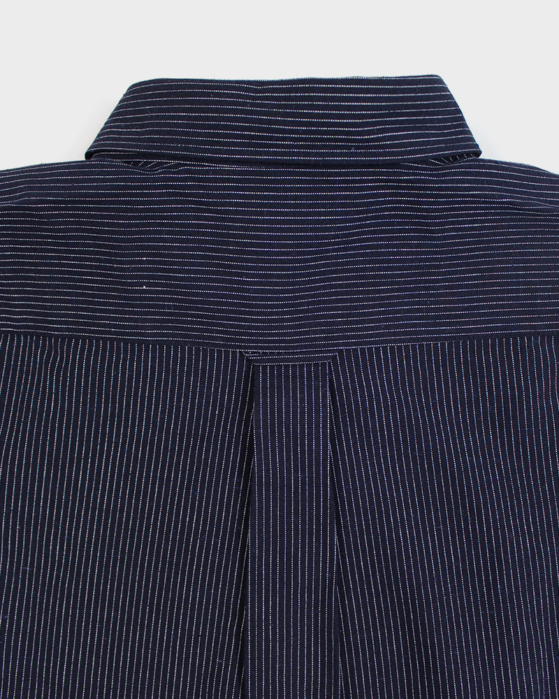 Long Sleeve Button-Up Two Tone Shima, Thin Stripes