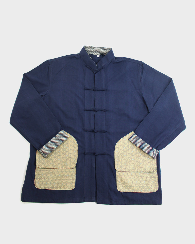 Mandarin Collar Jacket with Hunting Style Pocket, Indigo with Yellow Asanoha