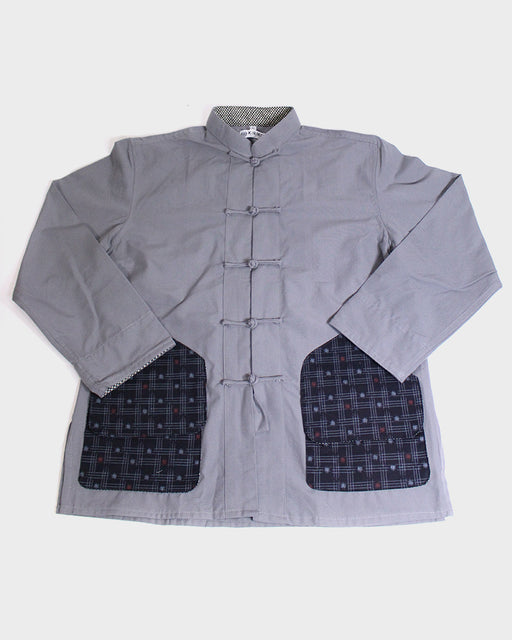 Mandarin Collar Jacket with Hunting Style Pocket, Light Grey with Igeta