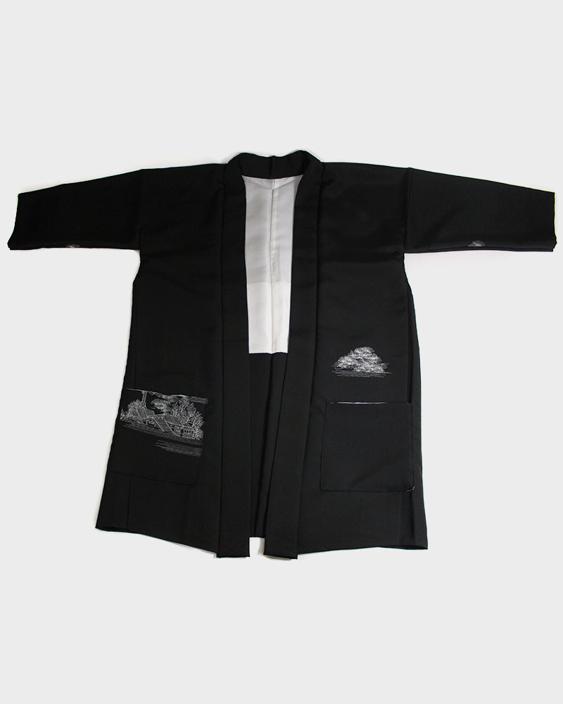 Modern Cut Haori Jacket, Black with White Bridge Scenery