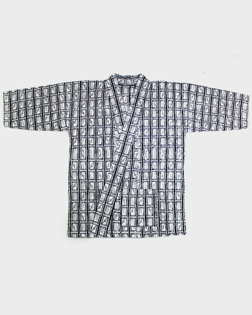 Modern Cut Yukata, Black and White Abstract Koushi