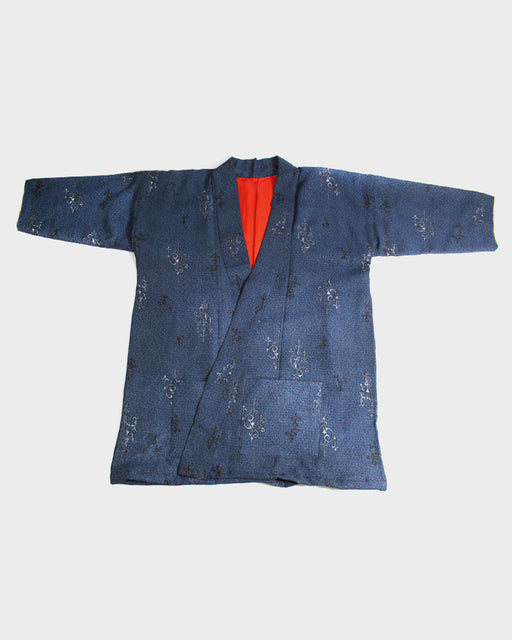 Altered Kimono Jacket, Dark Blue Ornate Grey Pattern
