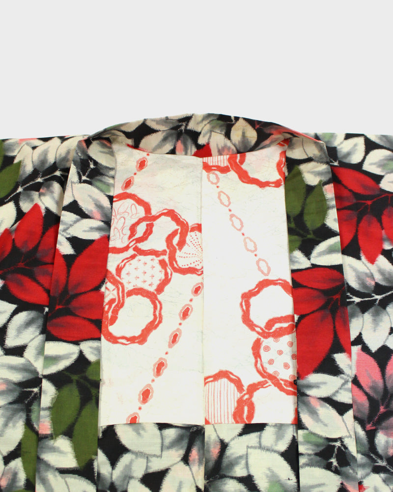 Modern Cut Haori, Pink, Red, Green and White Leaves