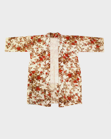 Modern Cut Kimono Haori Jacket, Beige and Red Floral