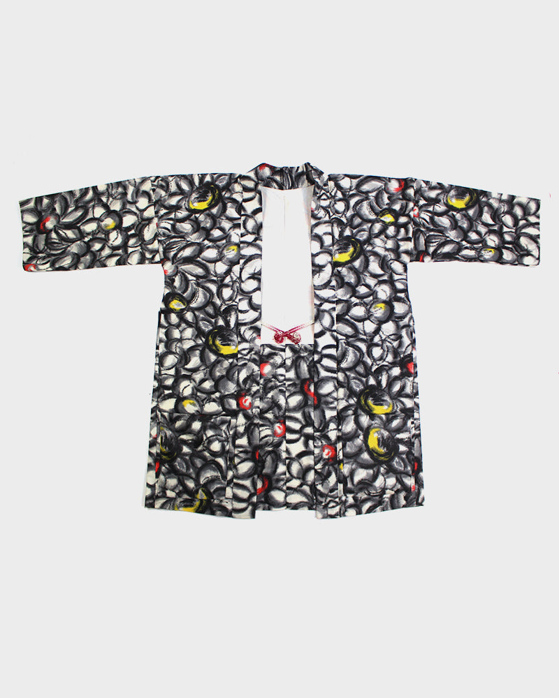 Modern Cut Haori Jacket, Red, Yellow and Grey Abstract Floral