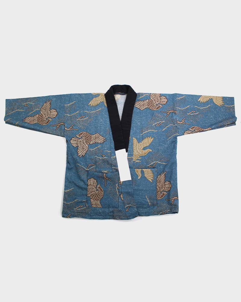 Modern Cut Kimono, Teal with Brown & Gold Kiji