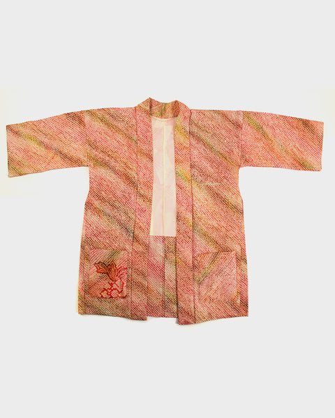 Modern Cut Haori Jacket, Faded Pink Shibori With Flowers