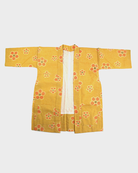 Modern Cut Haori Jacket, Yellow Kasuri Flowers