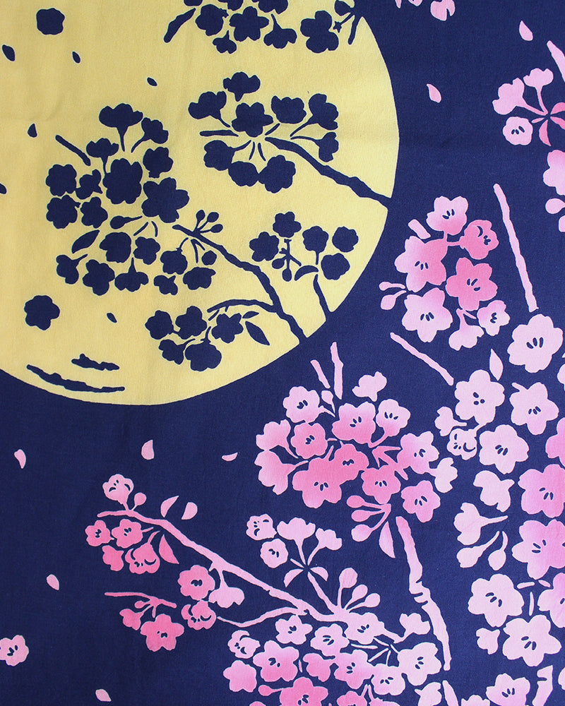 Chu-sen Dyed Tenugui, Cherry Blossoms Under Moonlight