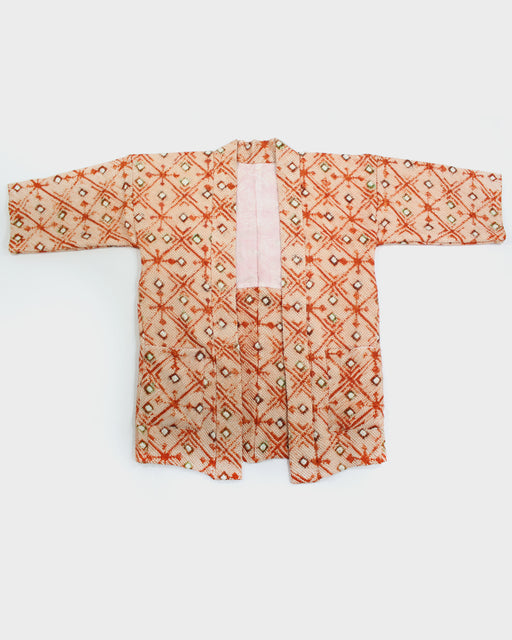 Modern Cut Shibori Haori, Orange and Green Diamond