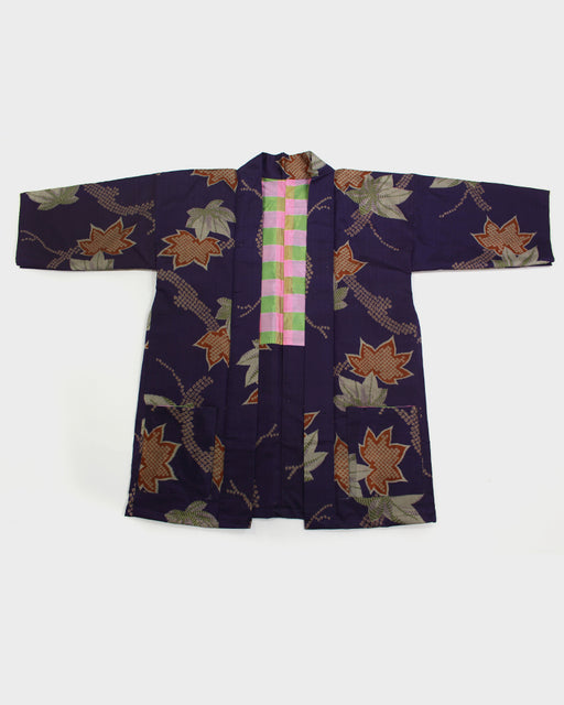 Modern Cut Haori, Eggplant and Orange Maple