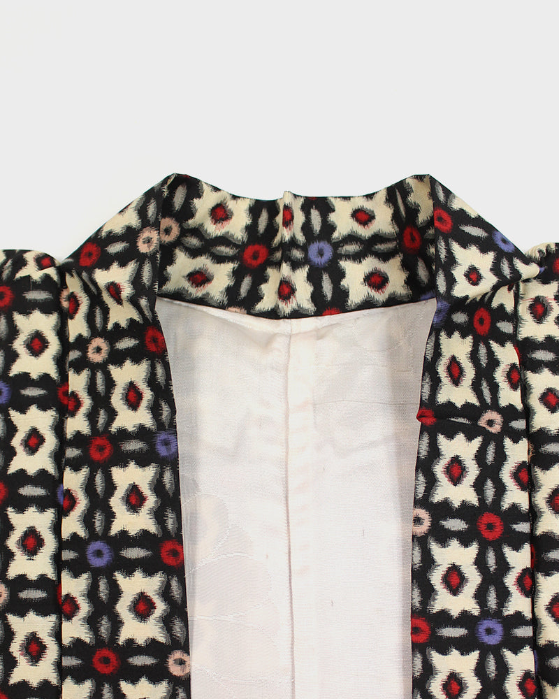 Modern Cut Haori, Cream, Black and Red, Abstract Pattern
