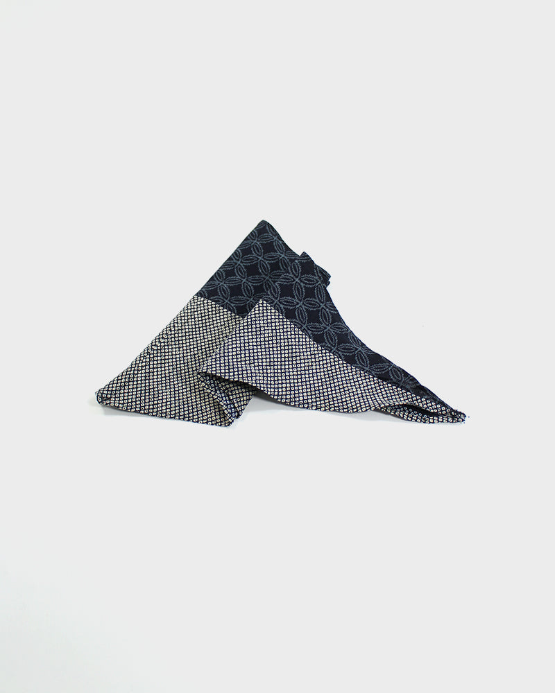 Split Neckerchief, Indigo Shibori and Kasuri Shippou