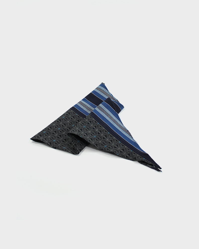 Split Neckerchief, Indigo Shima and Kasuri Asanoha with Blue Dots