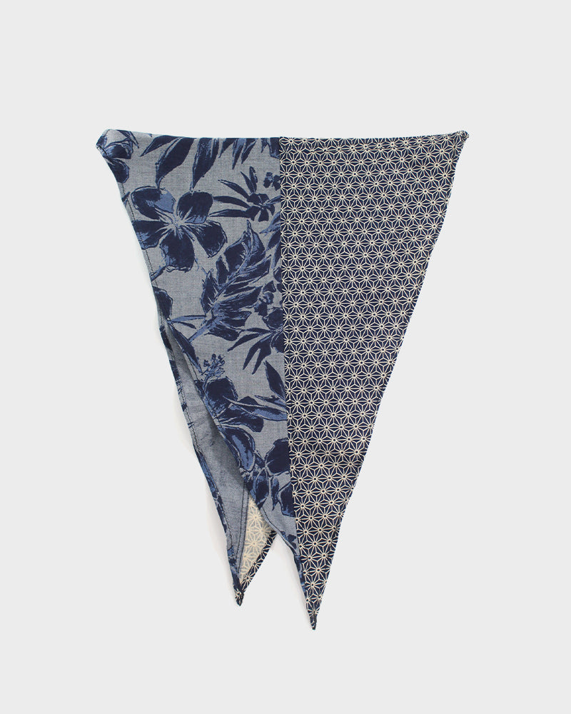 Split Neckerchief, Indigo Asanoha and Grey Floral