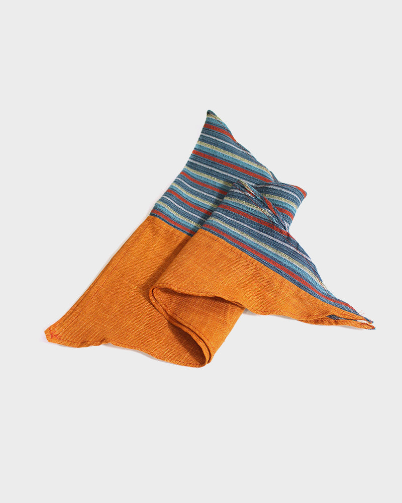 Split Neckerchief with Leather Cuff, Orange with Multi Color Shima
