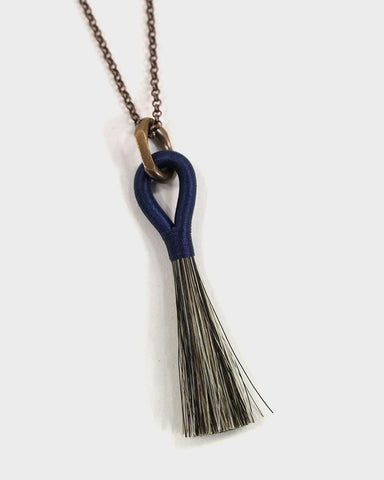 Boet Necklace, Horse Tassel Grey and Indigo