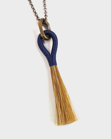 Boet Necklace, Horse Tassel Chestnut and Indigo