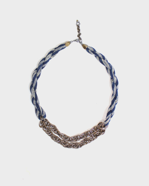 Boet X Kiriko, Boro Collar Necklace, Indigo and White Shima