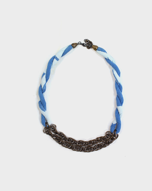 Boet X Kiriko, Boro Collar Necklace, Light Blue and White