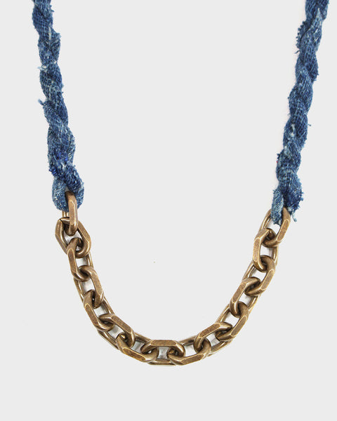 Boet X Kiriko Necklace, Indigo Boro and Vintage Chain