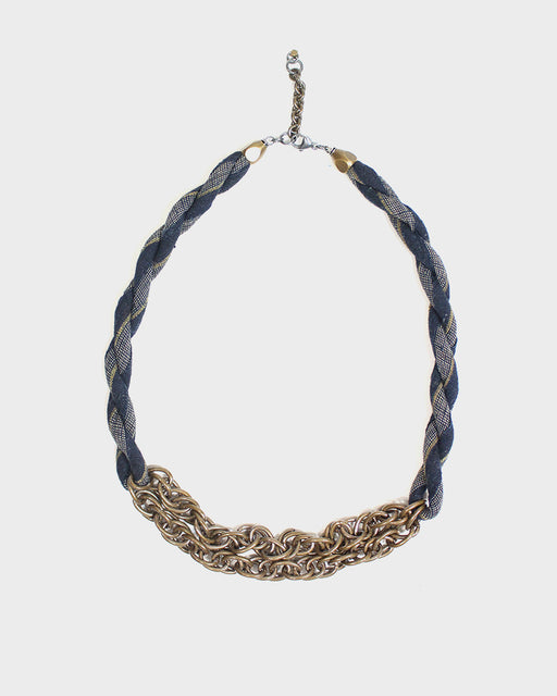 Boet X Kiriko, Boro Collar Necklace, Indigo, White and Tan Shima