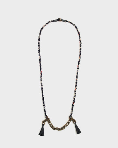 Boet X Kiriko Necklace, Silk Fabric, Vintage Chain and Tassels