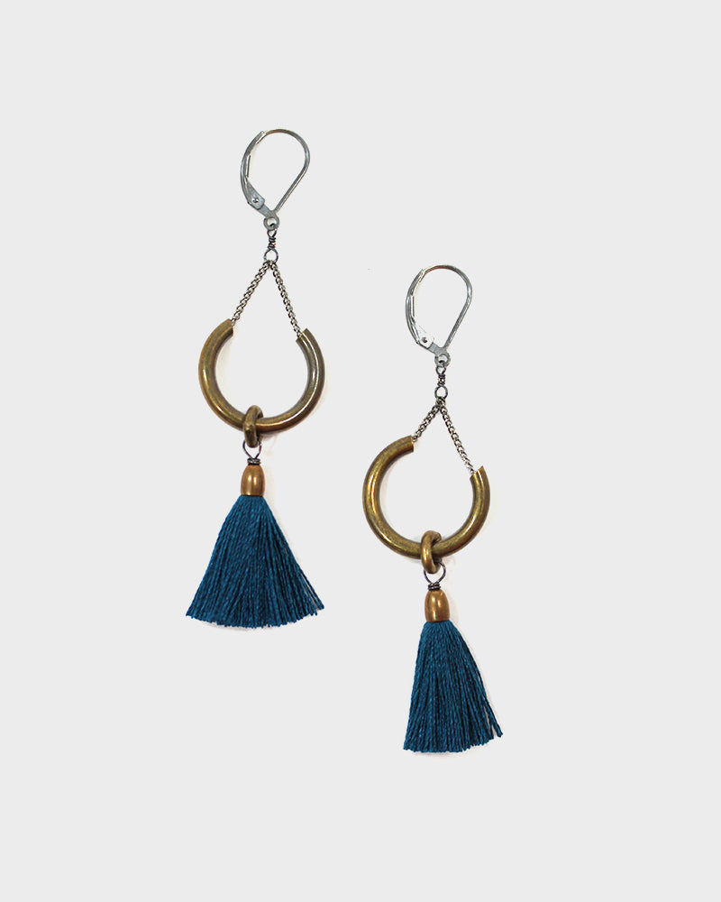 Boet Earrings, Duster, Peacock
