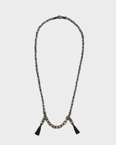 Boet X Kiriko Necklace, Black Shibori, Vintage Chain and Tassels