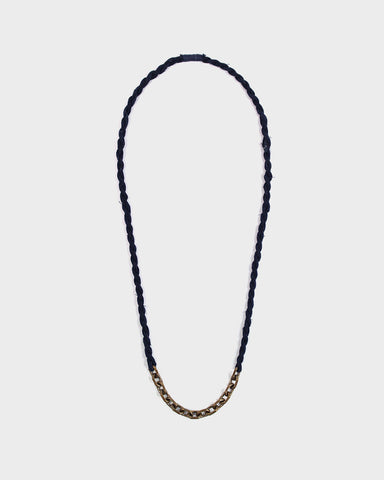 Boet X Kiriko Necklace, Dark Indigo Boro and Vintage Chain